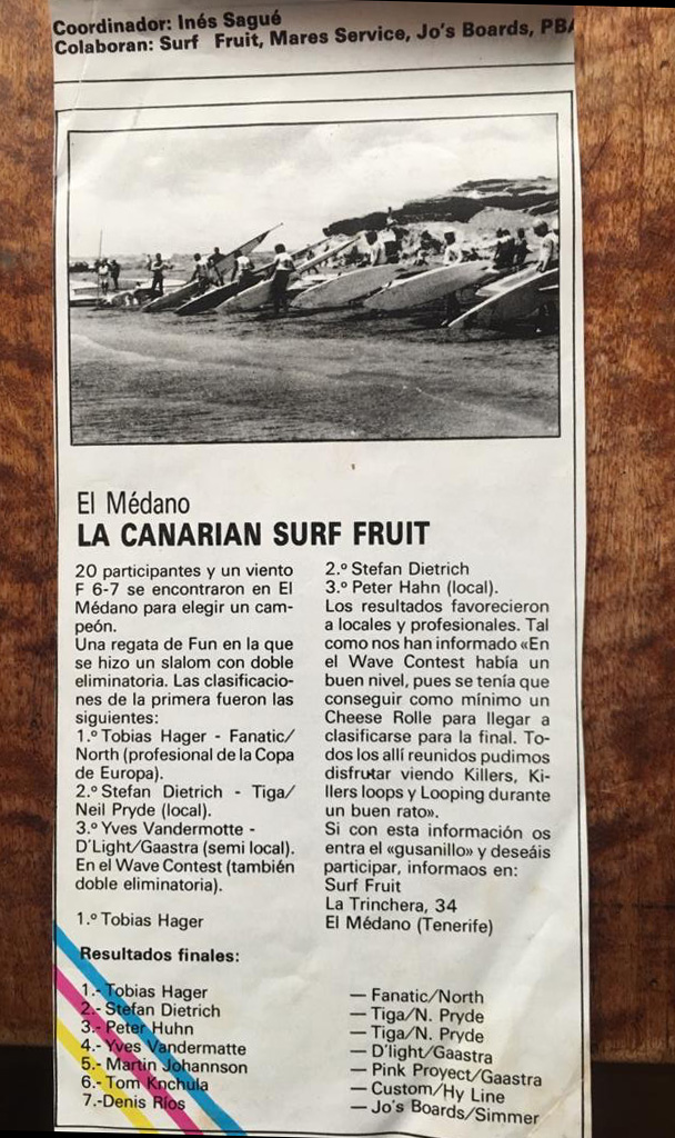 Alter Zeitungsartikel Canarian Surf Fruit Regatta
